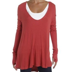 We The Free Red Hi-Low Waffle Knit Top